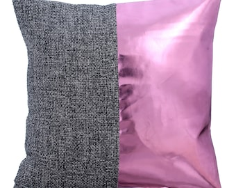 Burlap Decorative Throw Pillow Cover Accent Pillow Couch Sofa Leather Pillow Case 16x16 Pink Metallic Faux Leather Pillow - Glow In The Dark