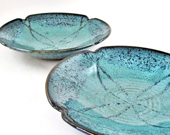 Handmade teal blue poppy bowl, stoneware serving bowl, decorative pottery bowl, home decor, housewarming gift - In stock