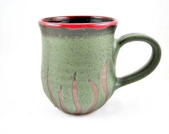 Pottery mug, Handmade mug, Ceramic mug in seaweed green, 20 oz. - In stock