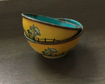 Vintage wolverine little bo peep tin toy bowls pretend play