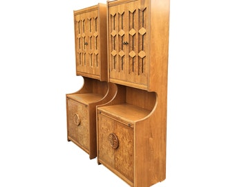 Pair of Burlwood Cabinets with pull out desk and server by Weiman