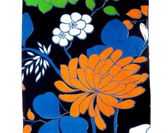 Vintage Large Print Floral Fabric - Mod Floral Print in Orange, Blue and Kelly Green / Vintage Cotton Yardage