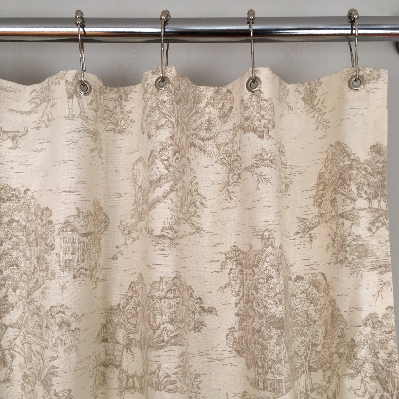Khaki Toile Fabric Shower Curtain