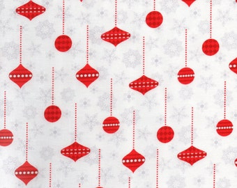 White Holiday Frost Print 100% Cotton Quilting Fabric