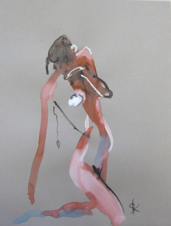 Nude painting of One minute pose 105.5 - Original nude painting by Gretchen Kelly
