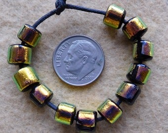 12 Bright Gold Small Tubes Dichroic Colors Lampwork Beads by Dee Howl Beads
