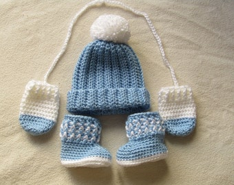 Baby Crochet Hat, Mitts and Booties - Baby Boy Hat - Baby Girl Hat - Newborn - Baby Booties - Baby Hat - Baby Shower Gift - Handmade