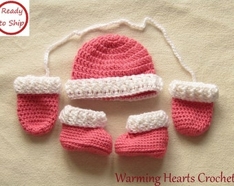 Crocheted Baby Hat, Mitts and Booties - Baby Gift - Baby Girl Gift - Newborn - Baby Booties - Baby Hat - Baby Shower Gift - Handmade - Mitts