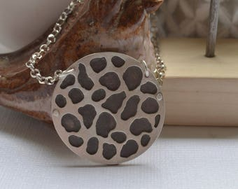 Large Round Sterling Silver Pendant