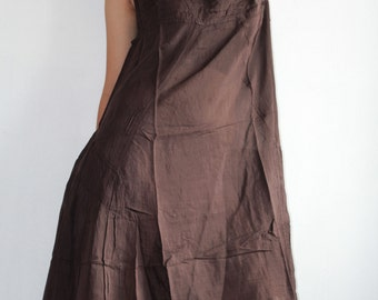 30 USD Sale...Blown away Sleeveless dress....Brown mixed silk ( S-L)