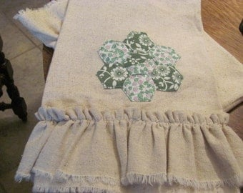 Osnaburg Ruffled Towel,Paper Piecing Patterned Hand Towel, Kitchen Towel