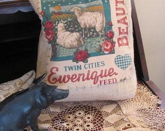 Farmhouse Pillow, Burlap Farm House Sheep Pillow, One of a Kind