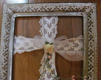 Vintage Ornate Picture Frame with Lace Cross Wreath, Framed Cross