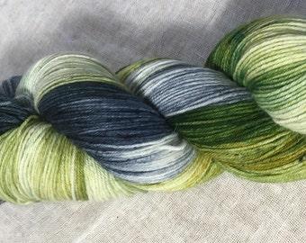 Green, White, Grey Hand Dyed 4ply Sock Wool/Nylon Yarn