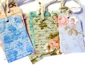 12 Gift Tags, Pastel Color Cottage Chic Floral, Merchandise Tags, Party Favor Tags, Handmade
