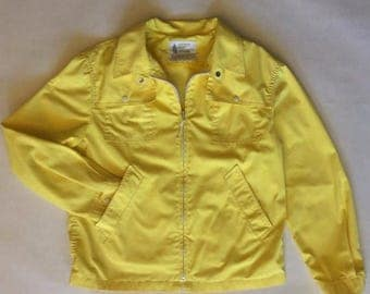 MOVING 4 GRADSCHOOL SALE 1960's summer yellow rain jacket, London Fog, classic mod style, with white snaps and zippers, long sleeves, men's
