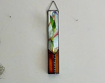 Bamboo Plant, Stained Glass Panel, White with Rainbow Colors, Wall Plant Hanging, Glass Vase