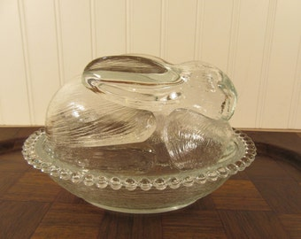 Sweet clear glass rabbit dish with cover- fine condition, solid, ready for Easter goodies!
