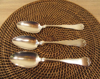 Rogers vintage silver plate fiddle tip flatware- 3 large serving spoons