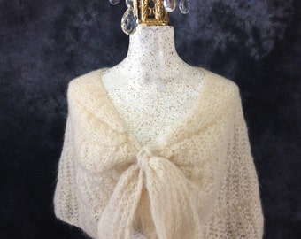 Vintage cream mohair knit shawl