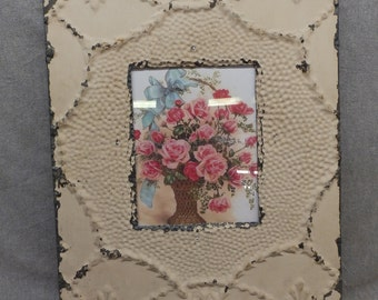 TIN CEILING Picture Frame Beige 8x10 Shabby Recycled chic 16-17
