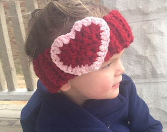 Crochet Heart Ear Warmer