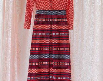 Vintage Gown - Maxi Evening 70s Gingham Goodness