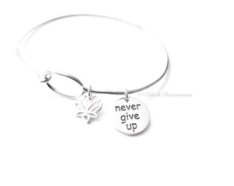 Never Give Up with Lotus Flower Charm Bangle Bracelet - Solid 925 Sterling Silver - Insurance Included