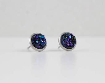 Blue Purple Metallic Iridescent Opaque Druzy Earrings | ATL-E-167