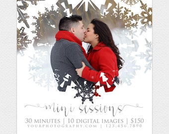 DIY Winter Mini Session Template, Snow, Christmas, Instant Download, Photographer Marketing, Photoshop, Facebook, PSD, Mini Session