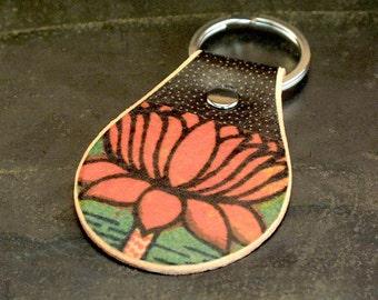 Lotus flower leather keychain
