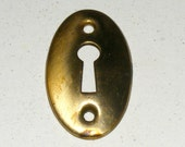 Antique Brass Skeleton Key Keyhole Metal Cover Plate Patina Hardware Escutcheon