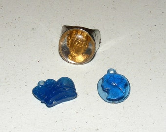 Vintage Cracker Jack Cameo Ring Crown and Cameo Charm Lot  Prize Premium