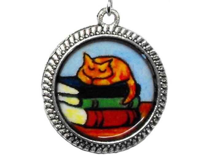 Napping Cat Books Earrings Orange Tabby Bookish Literary Kitty