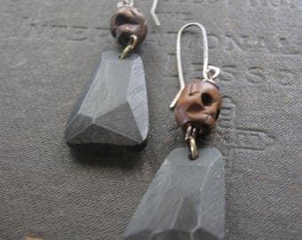 Bone Skull Earrings with Vintage Lucite - Sterling Ear Wires