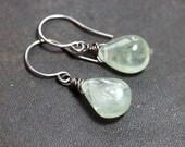 Green Prehnite Earrings Sterling Silver Rustic Wire Wrapped Briolette Green Earrings