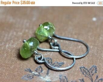 Sale Bright Green Peridot Earrings Green Gemstone Earrings Sterling Silver Wire Wrapped Dangles
