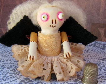 Trindel - a small handmade bat girl art doll