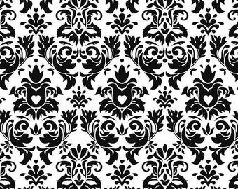Black damask on white new cotton lycra knit 1/2 yard