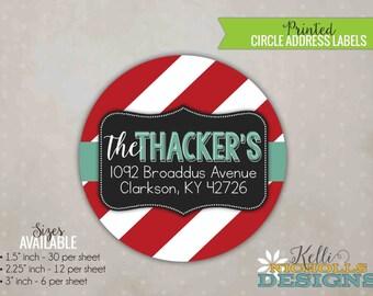 Red Stripes Christmas Address Labels, Custom Holiday Return Address Sticker, Envelope Seal