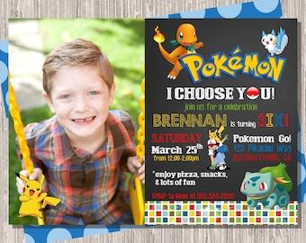Pokemon Invitation, Pokemon Birthday Card, Pokemon Invite with photo, Pokemon Party 5x7 Printable JPG or PDF