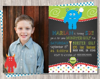 Monster Golf Invitation, Mini Golf Birthday Invitation, Monster Glow Golf Chalkboard Birthday 5x7 JPG PDF