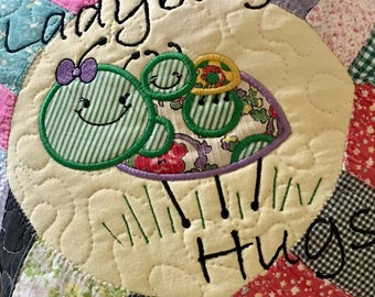Recycled Vintage Quilt LADYBUG HIGS Pillllow . . . Applique Design . . . Butter Yellow Focal Fabric . . . Grest Motherd Day Gift