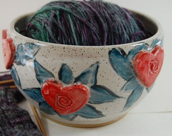 Large Heart Yarn Bowl with White Glaze, Knitting and Crochet