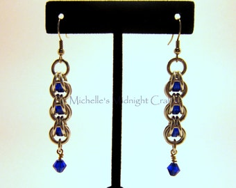 Beautiful chainmail captive bead earrings.