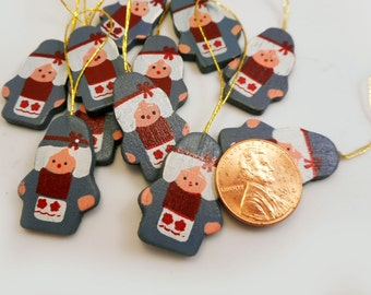 """Teeny Tiny Mama Gnome Ornaments Hand Painted Wooden Cut Out Christmas Ornaments 11 Hanging 1"""" Miniature Flat Wee People Decorations"""