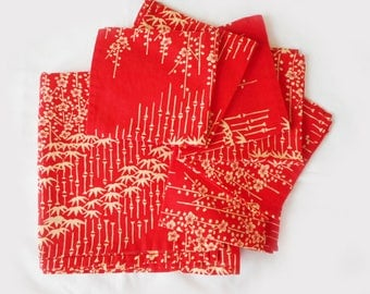 "Vintage Red Orange Small Tablecloth and 6 Napkin Set Bamboo and Blossoms Asian Print on Linen 43"" X 44"" Bridge Cloth Tea Table Ecru Print"