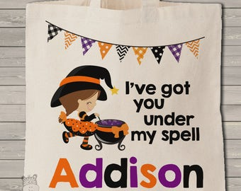 Trick or treat bag Halloween bag personalized little witch and spell use year after year MBAG1-036