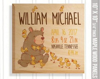 Birth stats on wood panel - new baby gift - wood rustic nursery birth statistics bear and ducklings panel FBP-002