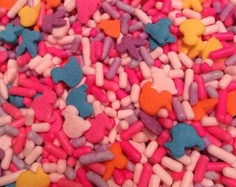 Sprinkles - Easter mix,bunnies,chicks,pink,white,lavender sprinkles